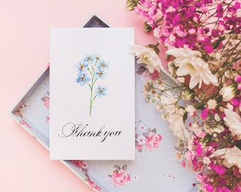 Set of 6 A7 Wildflower Thank you Notecards / Wildflower cards / blank greeting card / original watercolour painting
