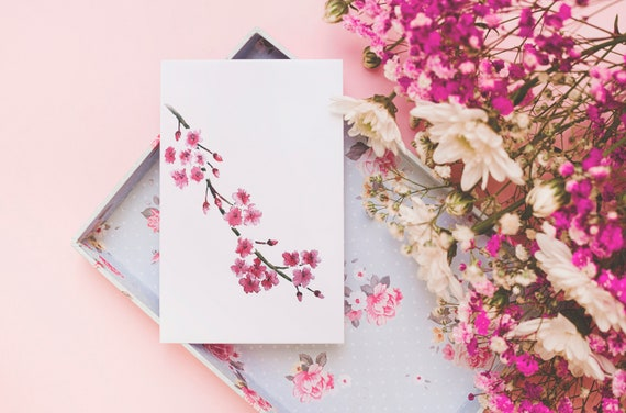 Cherry Blossom watercolor print or greeting card