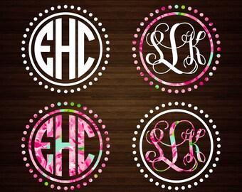 Circle Dot Monogram Decal | Lilly Decal | Monogram Decal | Circle Monogram | Dot Monogram | Monogram Sticker | Car Decal | Vinyl Decal