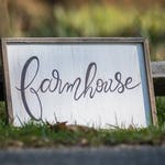 "Free-hand lettered white-washed wood piece // gifts for the home // home decor // fixer upper // ""Farmhouse"""