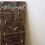Merry Mail // Christmas Card Organization // Wood Sign // Card Holder // Holiday