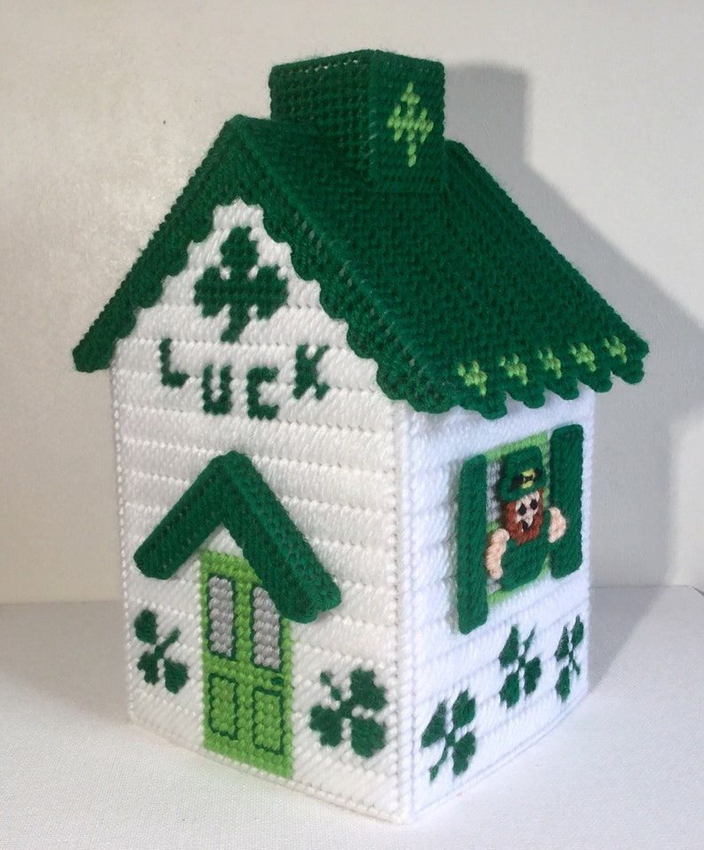 St Patricks Day House Tissue Box Cover Pattern