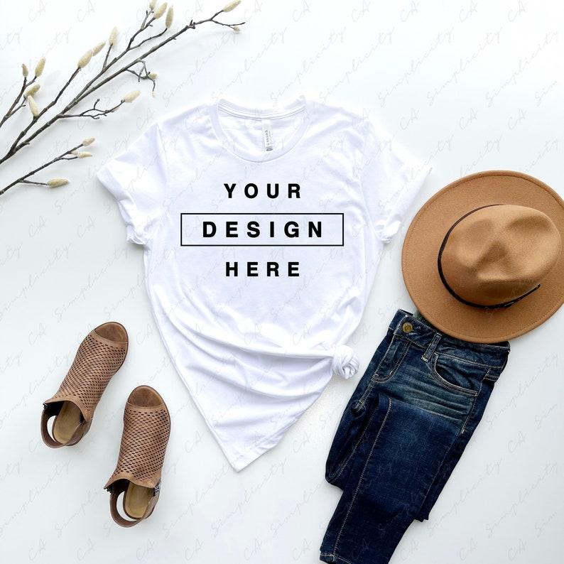 Bella Canvas 3001 CVC Solid White Blend T-Shirt Mockup Rolled Sleeves Flat Lay Mock up High Resolution 300dpi Square /& Rectangular Ratio JPG