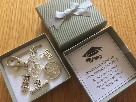 Personalised wise owl Graduation Keepsake Keyring Gifts Congratulations 2018