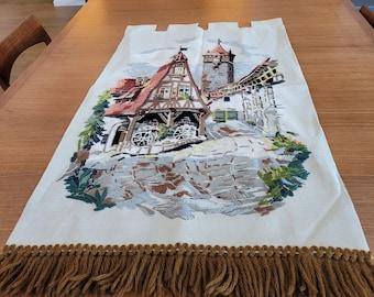 Huge vintage handmade embroidered wall art, European Village // 43 x 25 inches // brown fringe