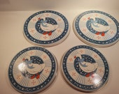 4 vintage 1980s enameled cast iron burner covers with ducks, B D