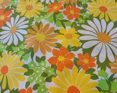 Vintage 1960s floral cotton tablecloth, 40 inches square mid century modern