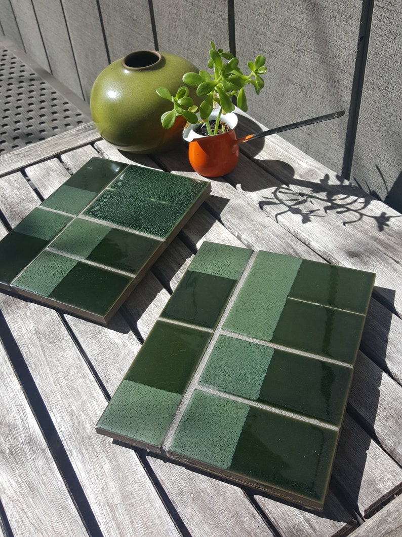tile mosaic table trivet table hot pad// Heath Ceramics handmade tiles //  re-purposing recycled, excess and found materials