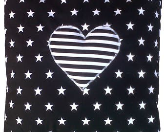 "Black and White Stars with Stripe Heart Cotton Cushion Cover 16"" x 16"""