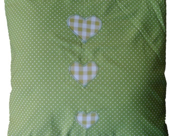 "Green Spotty with Gingham Hearts Cotton  Cushion Cover 16"" x 16"" Shabby Chic Style"