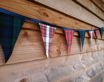 Mixed Tartan, Blue, Red and White Single Sided Bunting Available in Various Lengths