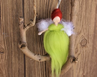Cadaques  Luck Angel; Needle Felted Doll; Green Angel; Fairy Dolls; Waldorf Inspired