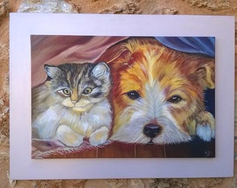 Painting board with painted animals with oil.(dog and cat).