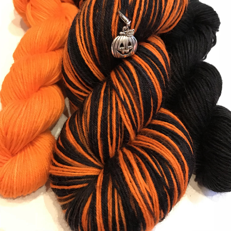 Joy O'Lantern Halloween Sock Kit 100g Skein + Mini-Skein + Pumpkin Progress  Keeper Stitch Marker Hand Dyed Hand Painted 4-ply Sock Yarn Wool