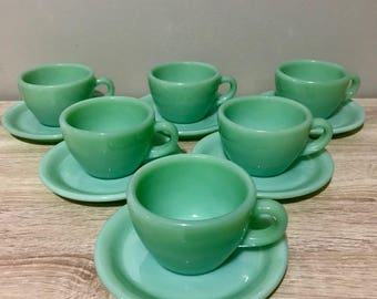 Fire King Jadeite Restaurant Ware Teacups and Saucers