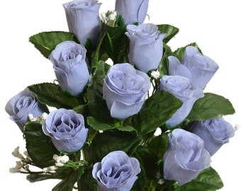 21 Roses Buds Silk Flowers Wedding Bouquets Centerpiece Fake Faux Artificial New