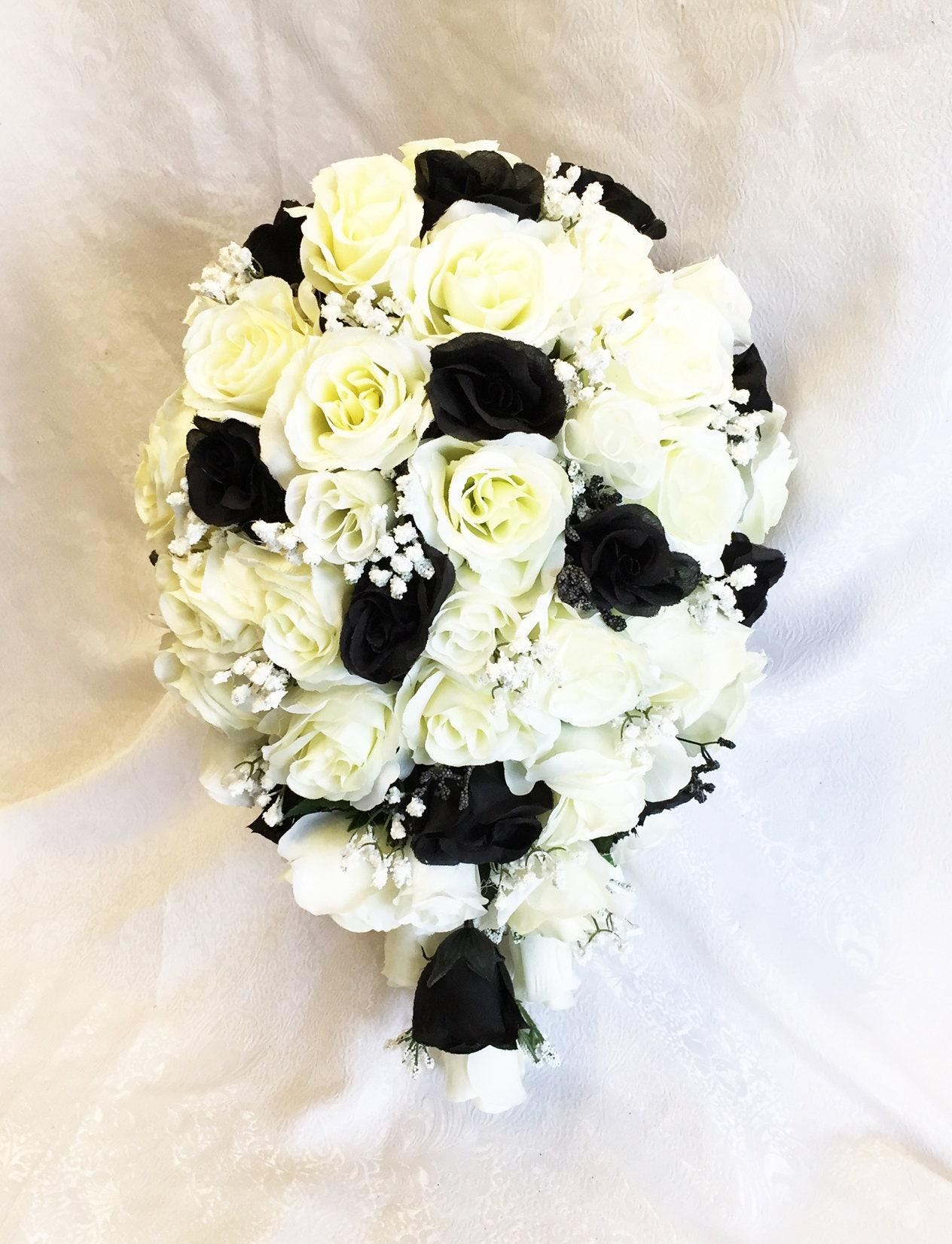 Schwarz & weiß oder Creme Kaskade Brautstrauß mit | Etsy
