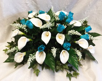 """Large 24"""" Head Table Centerpiece Calla Lily Lilies Ivy Baby's Breath Roses Silk Wedding Flowers Sweetheart Reception Decorations Artificial"""