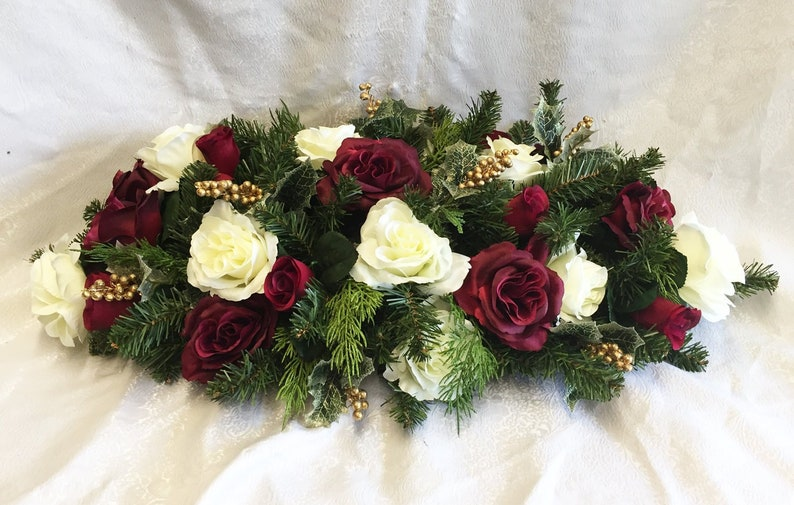 Swell Christmas Centerpiece For Dining Table Winter Wedding Centerpiece Wedding Arch Swag Christmas Table Runner Burgundy Faux Pine Swag Download Free Architecture Designs Remcamadebymaigaardcom