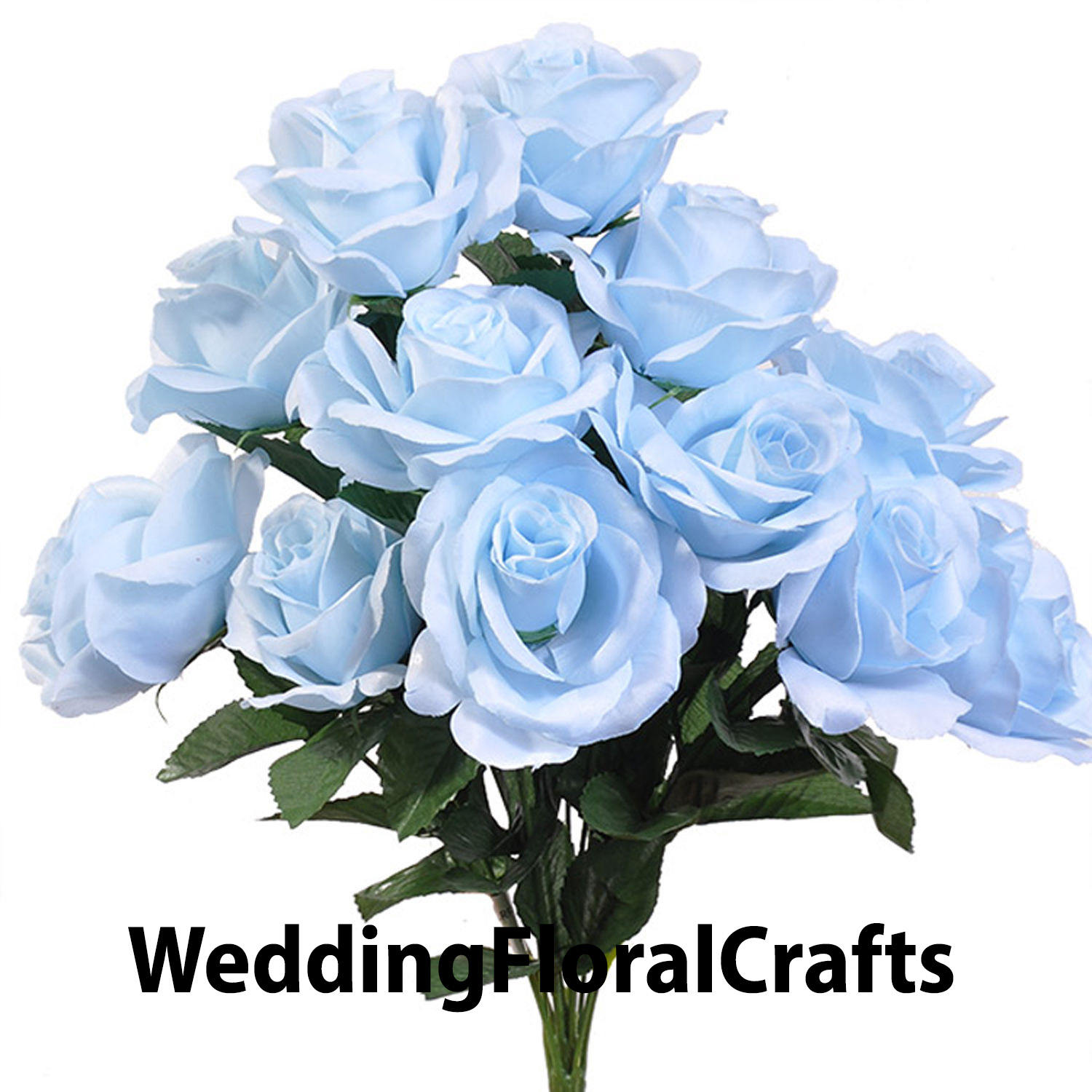 12 Open Light Baby Blue Roses In Bouquet Bush Artificial Soft Etsy