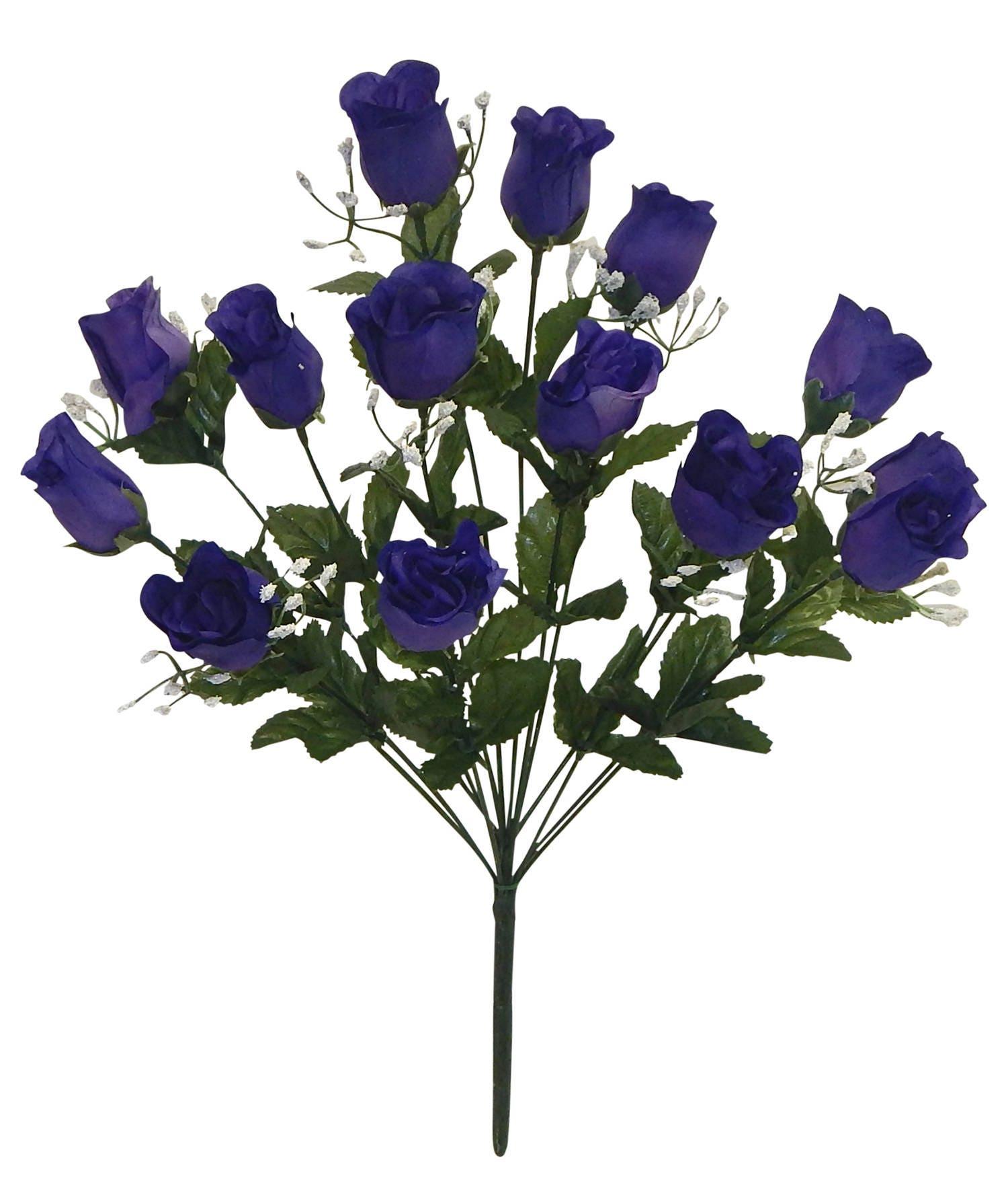 14 Dark Purple Long Stem Rose Buds Bouquet Bush Artificial Etsy