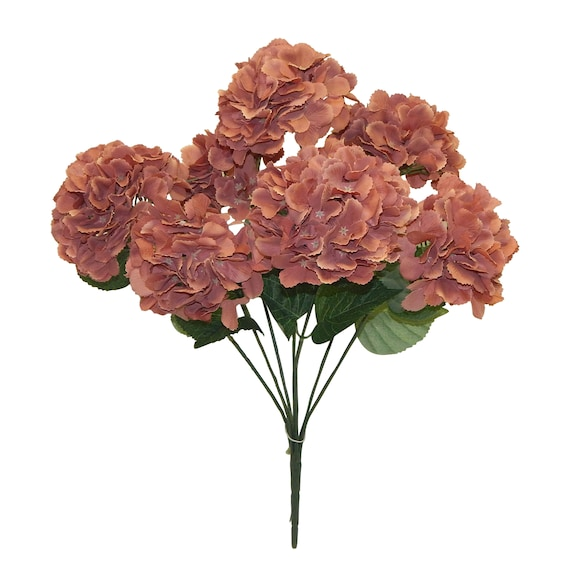 Dusty Rose Hydrangea Flowers Artificial Hydrangea Stems 7 Etsy