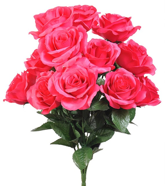12 open darker hot pink roses in bouquet bush artificial silk etsy image 0 mightylinksfo