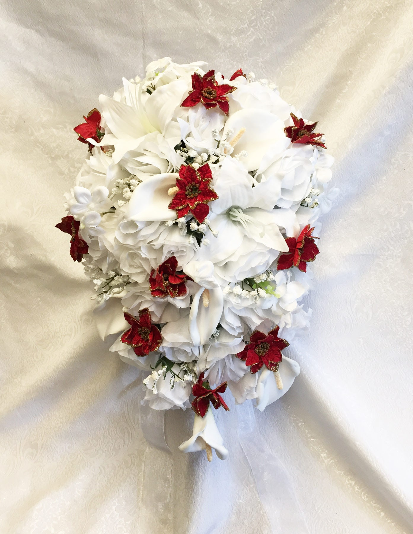 Weihnachten Kaskade Brautstrauß rote Weihnachtssterne & Gold | Etsy