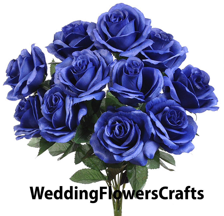 12 open royal blue roses in bouquet bush artificial silk etsy image 0 izmirmasajfo