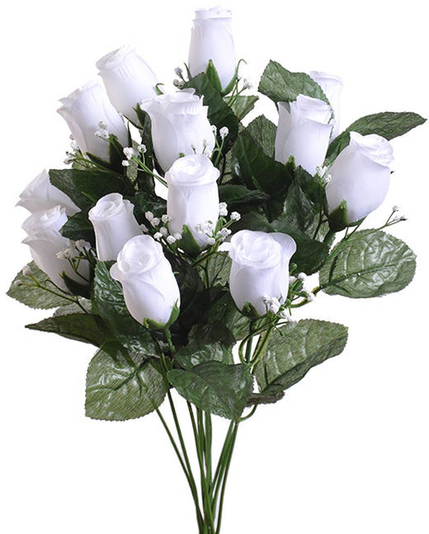 14 White Long Stem Rose Buds Bouquet Bush Artificial Touch Etsy