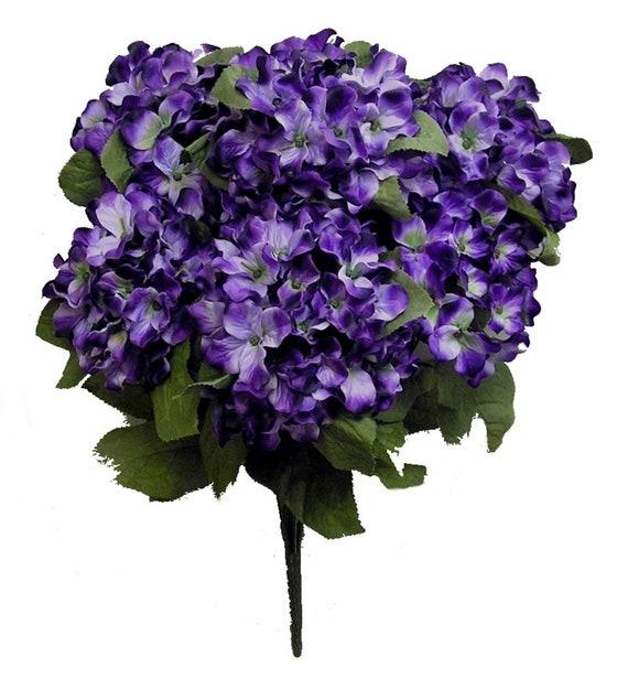 Purple Hydrangea Flowers Artificial Hydrangea Stems 7 Etsy