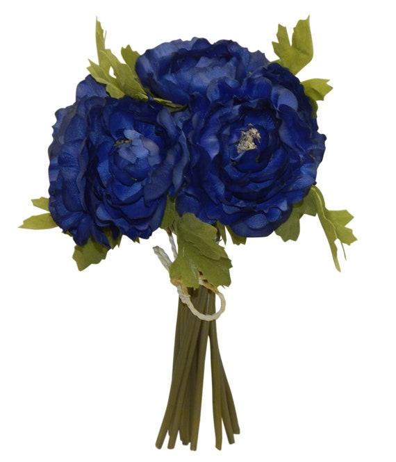 Royal Blue Ranunculus Bouquet Bride Bridesmaid Bouquets Centerpieces  Artificial Soft Touch Silk Wedding Flowers Faux Fake Arch Tie Backs