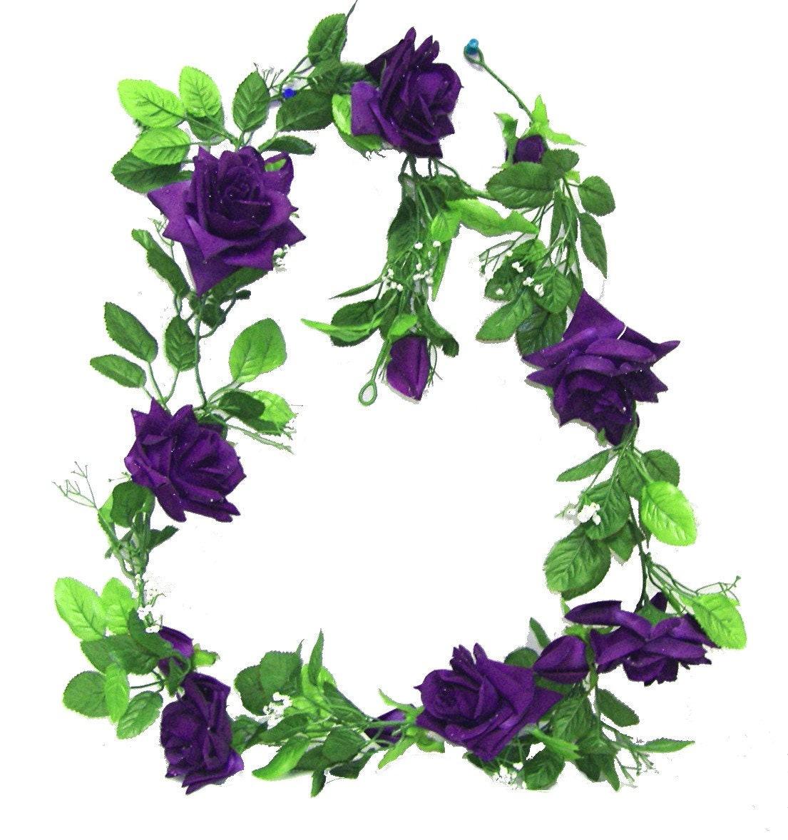 Purple Rose Garland 5ft Silk Flowers Wedding Arch Chuppah Etsy