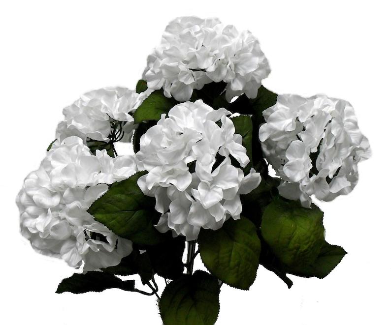 Silk Wedding Flowers White Silk Flowers 7 x Hydrangea Blooms Fake Flowers Hydrangea Bouquet Faux Hydrangea Artificial Hydrangea Bush
