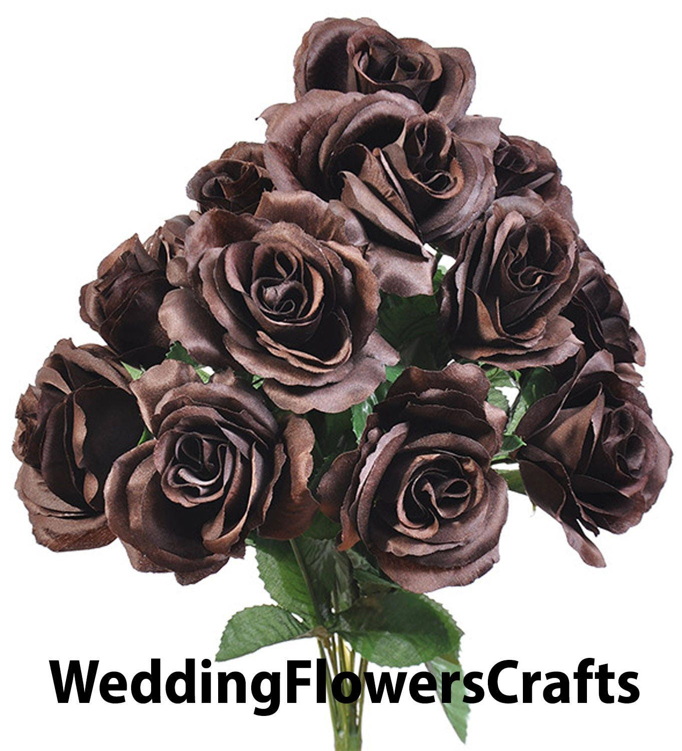 12 Open Chocolate Brown Roses In Bouquet Bush Artificial Fall Etsy