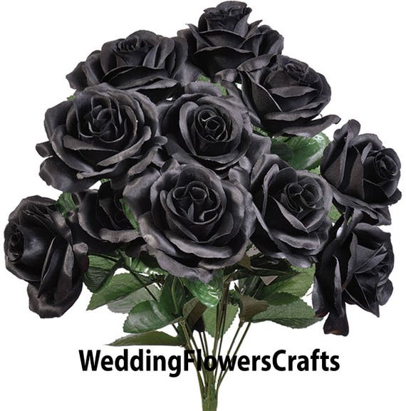 12 Black Open Roses Rose Bouquet Rose Bush Artificial Etsy