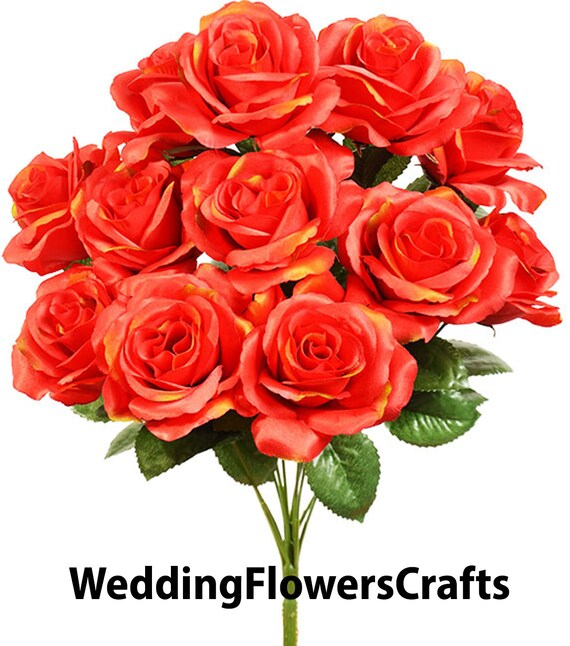 "Yellow 4/"" Open Roses x 12 Bush Artificial Silk Flowers Fake Bouquets Centerpiece"