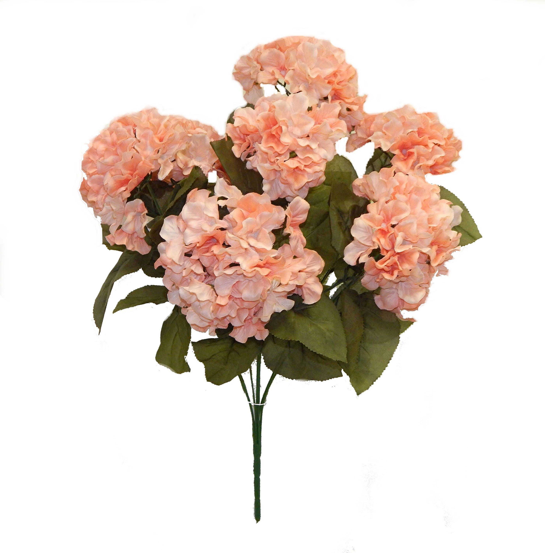 Artificial Hydrangea Bush Peach Silk Flowers 7 X Hydrangea Etsy