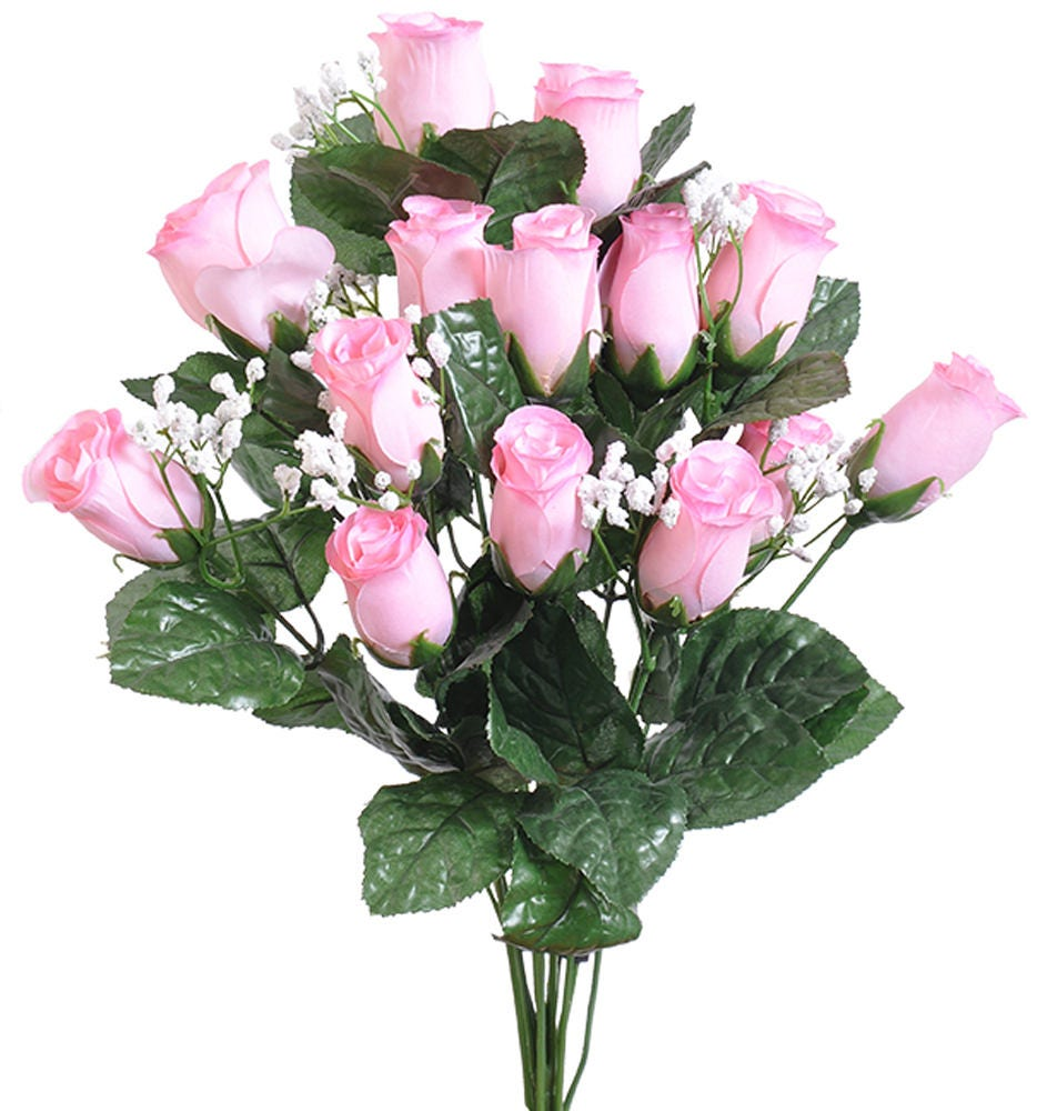 14 Light Pink Long Stem Rose Buds Bouquet Bush Artificial Baby Etsy