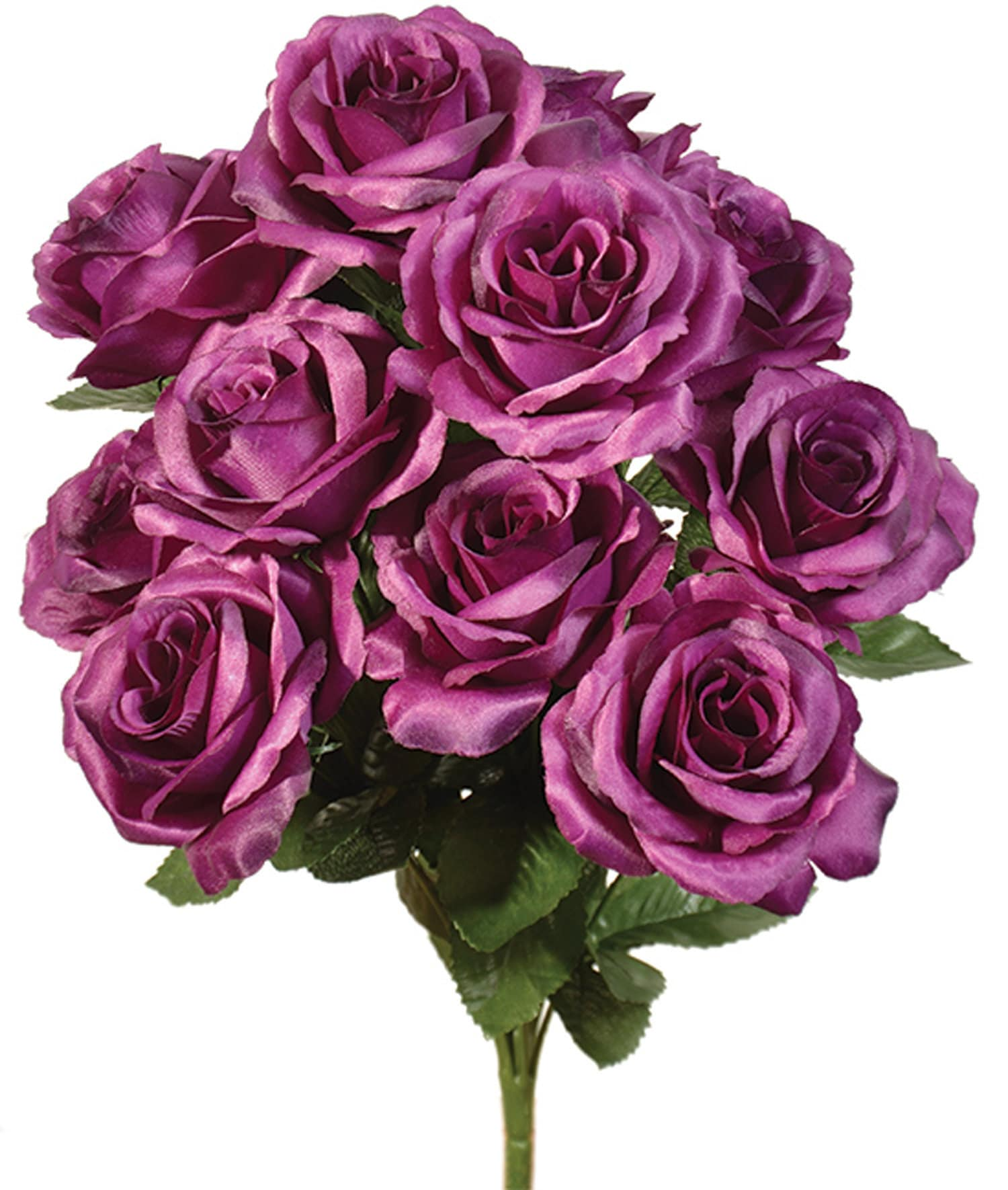 12 Open Grape Purple Roses In Bouquet Bush Artificial Silk Etsy