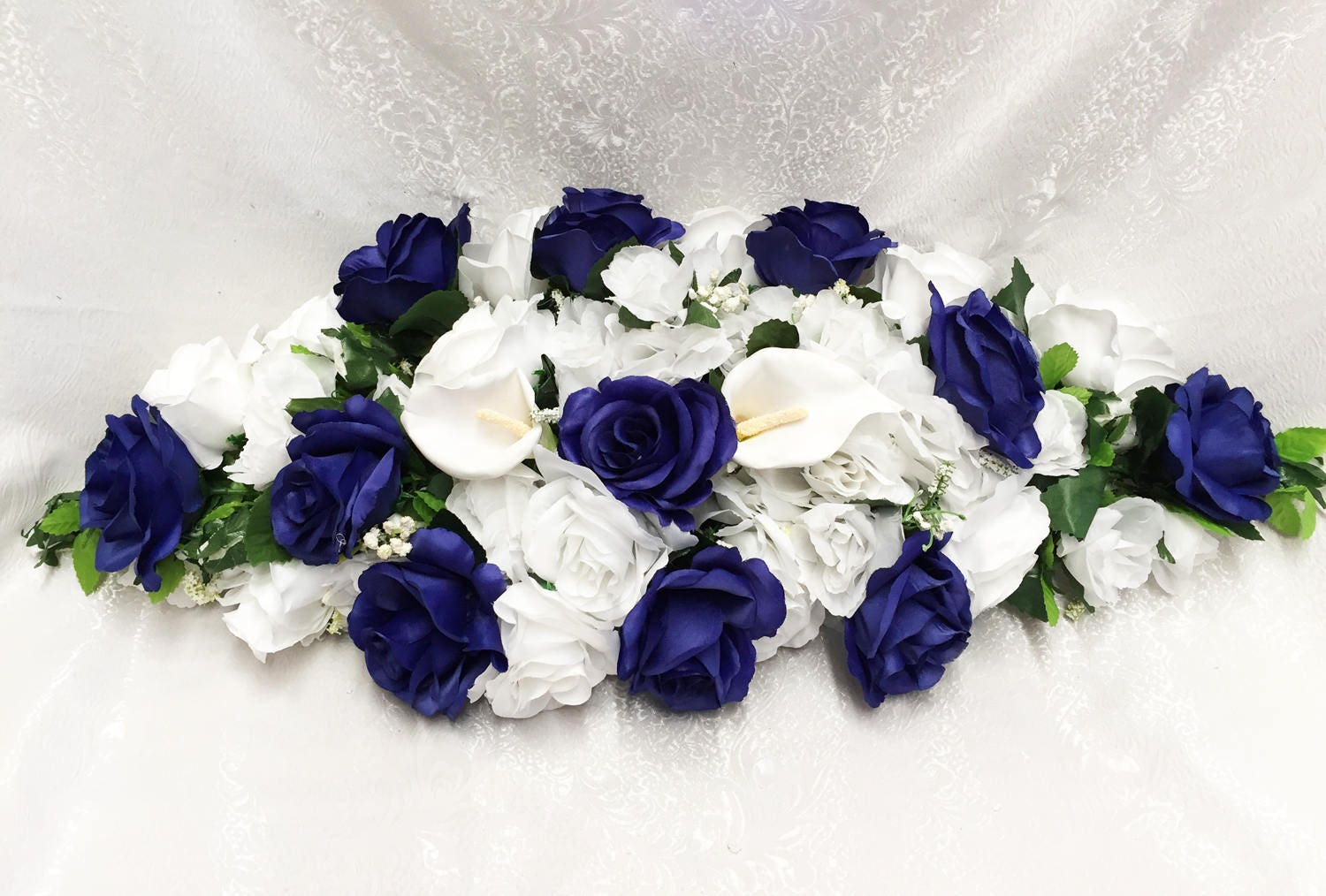 Royal Blue Swag 30 Cream Or White Accents Centerpieces Etsy