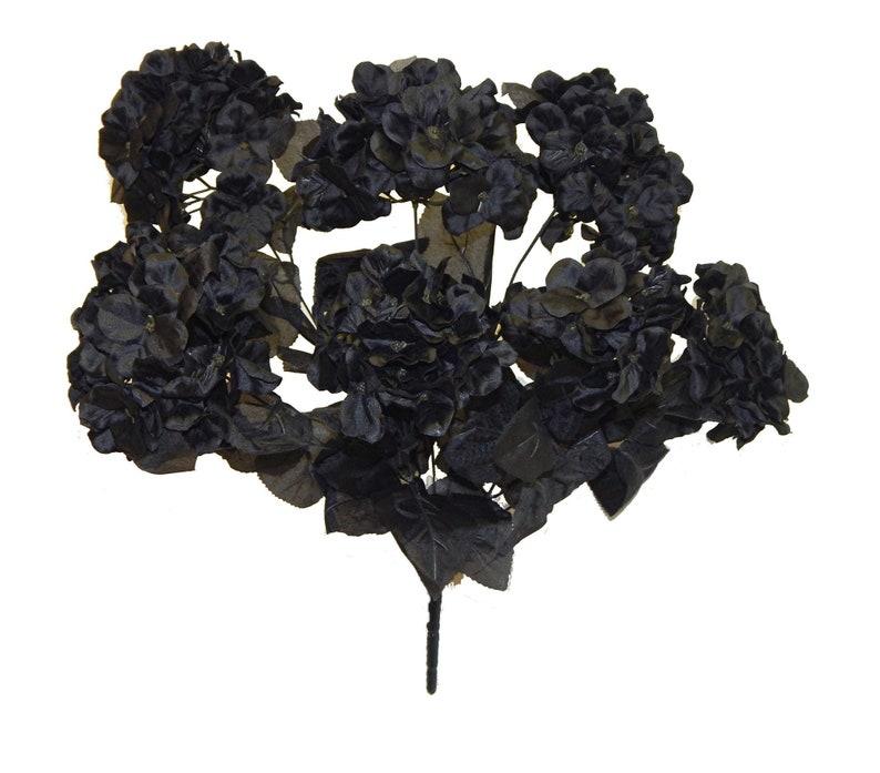 7 Hydrangea Blooms,Hydrangea Bouquet Silk Wedding Flowers Black Silk Flowers Faux Hydrangea Artificial Hydrangea Bush Fake Flowers
