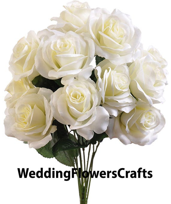 12 Cream Open Roses Ivory Rose Bouquet Rose Bush Artificial Etsy