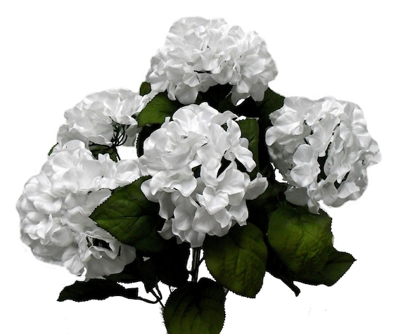 White Hydrangea Flowers Artificial Hydrangea Bush 7 Heads Etsy