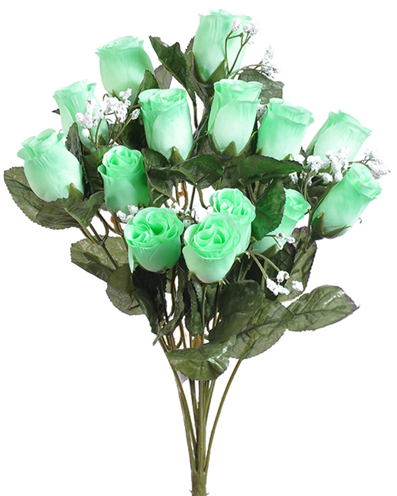 14 mint green long stem rose buds bouquet bush artificial silk etsy zoom izmirmasajfo