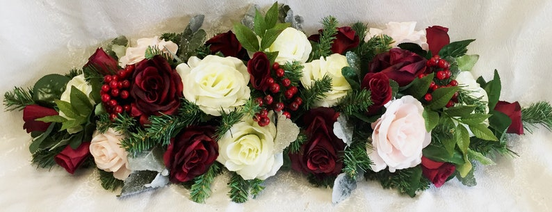 Swell Christmas Centerpiece For Dining Table Winter Wedding Centerpiece Wedding Arch Swag Christmas Table Runner Burgundy Blush Roses Berries Download Free Architecture Designs Remcamadebymaigaardcom