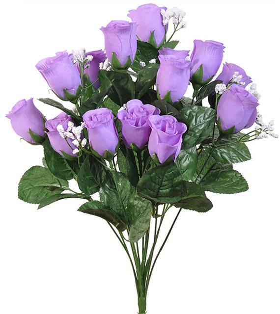 7 X ROSE BUDS Lavender WEDDING PARTY CENTERPIECES SILK FLOWERS DECORATION 1 BUSH