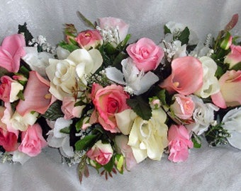 """Gorgeous Blush Pink Swag 30"""" Centerpieces Silk Wedding Flowers Roses Calla Lily Lilies Arch Chuppah Decorations Gazebo Table Centerpiece"""