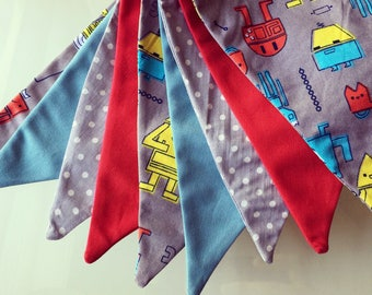 Bunting / Robots / Kids Room / Playroom / Party Banner / Party Decorations / Flags / Birthday / Birthday Party / Birthday Boy