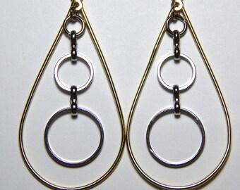 Tear Drop and Circle Earrings